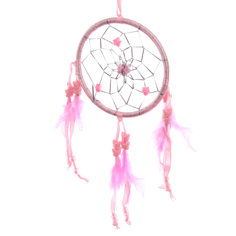 Attrape–rêves en Plumes & Rubans Rose 11cm