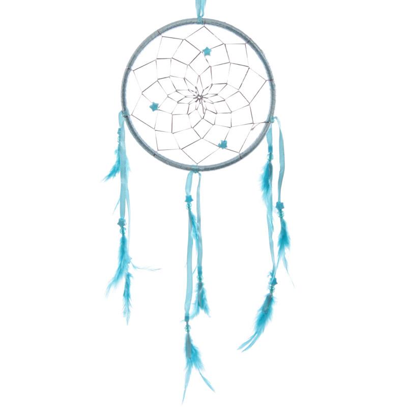 Attrape?rêves en Plumes, Rubans Turquoise 15 cm