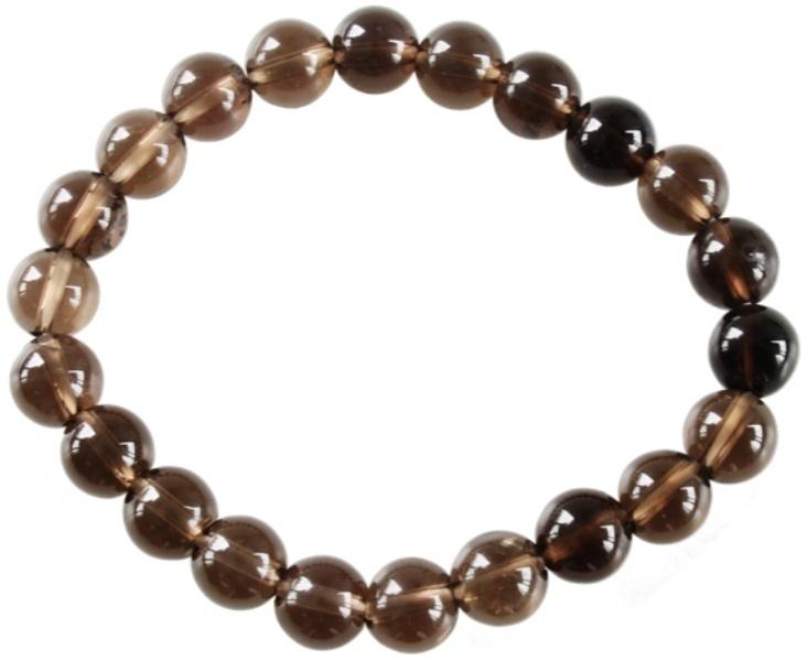 Bracelet Quartz fumé Perles Rondes  (8 mm)