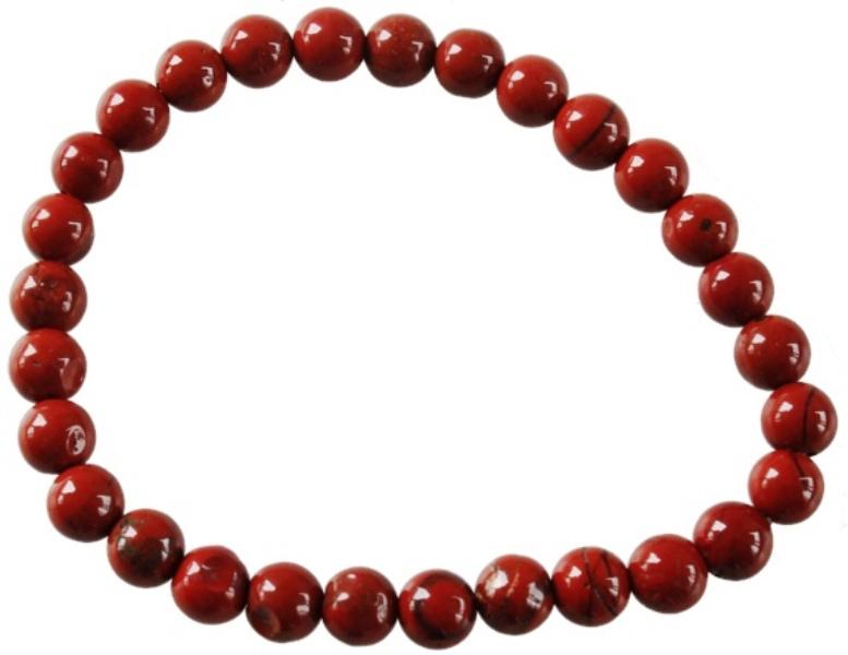 Bracelet Jaspe Rouge Perles Rondes (6 mm)