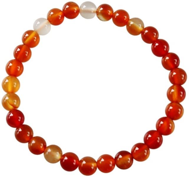 Bracelet Cornaline Perles Rondes (6 mm)