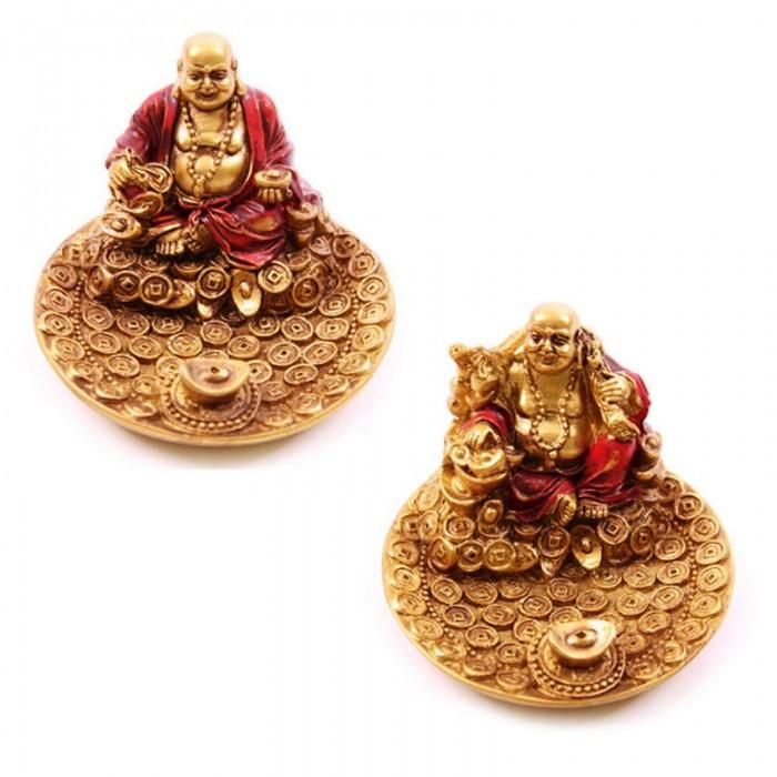 Porte-encens rouge et or Bouddha souriant ( lot de deux )