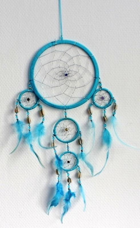 Capteur de rêves, Moyen Turquoise ( 17 cm )