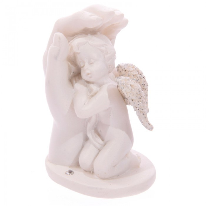 Statuette, Chérubin Blanc Endormi dans Main ( B )