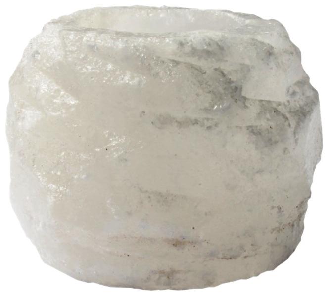 Bougeoir en Cristal de Sel, Blanc