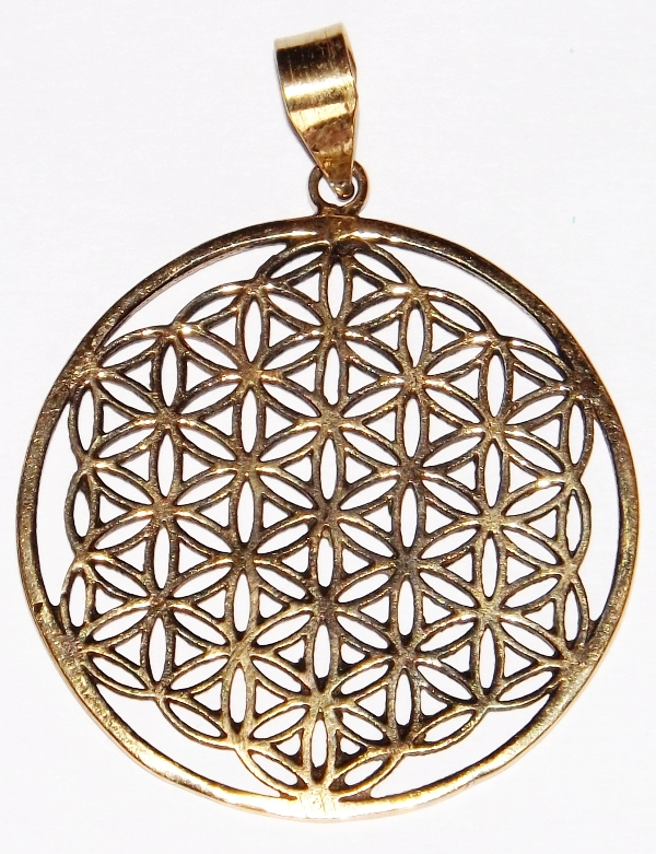 Médaille, la Fleur de Vie - Pendentif Laiton ( GM )