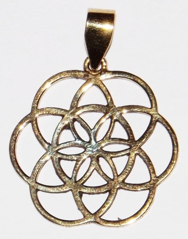 Médaille, la Graine de Vie - Pendentif Laiton ( PM )