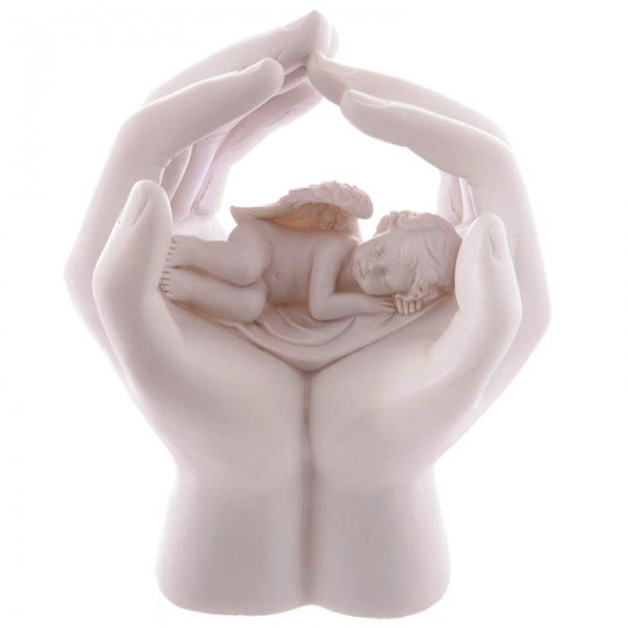 Statuette Chérubin Dormant dans Mains ( LED )