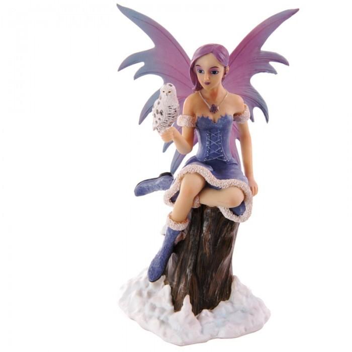 Fée des Neiges avec Chouette 22 cm - Collection Mystic Realms