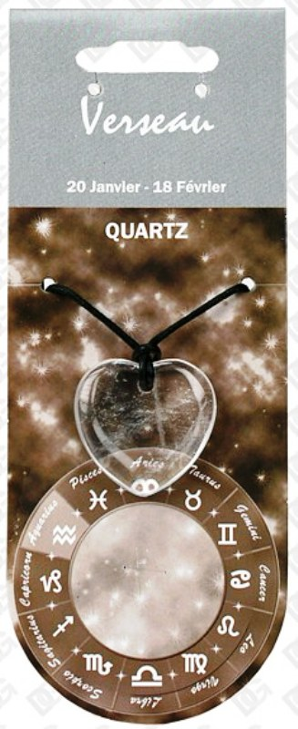Pendentif Coeur en Quartz Clair Zodiac  Verseau