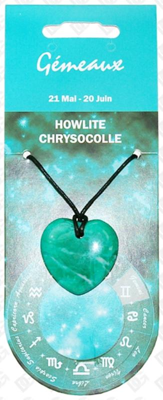 Pendentif Coeur en Howlite Zodiac Gémeaux