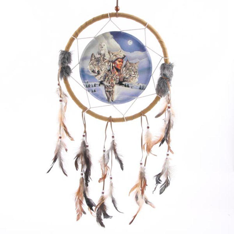 Attrape-rêves Loup et natifs Américains 33cm