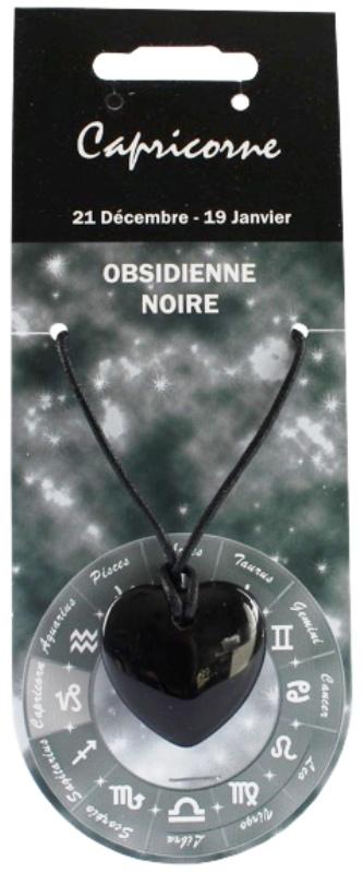 Pendentif Coeur en Obsidienne Zodiac Capricorne