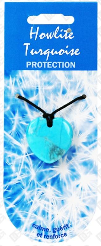Pendentif Coeur en Howlite turquoise - Vertu