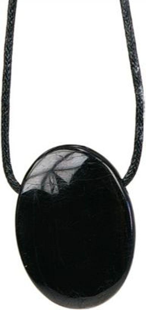 Pendentif pierre ovale percée - Tourmaline Noire