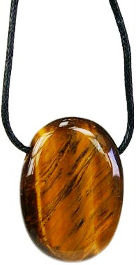 Pendentif pierre ovale percée - Oeil de tigre