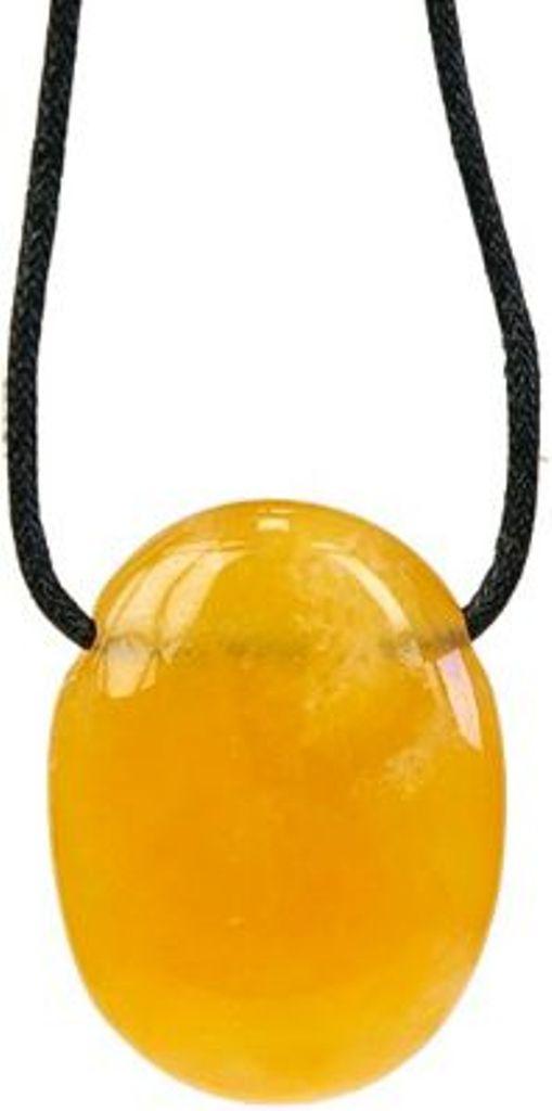 Pendentif pierre ovale percée - Calcite orange
