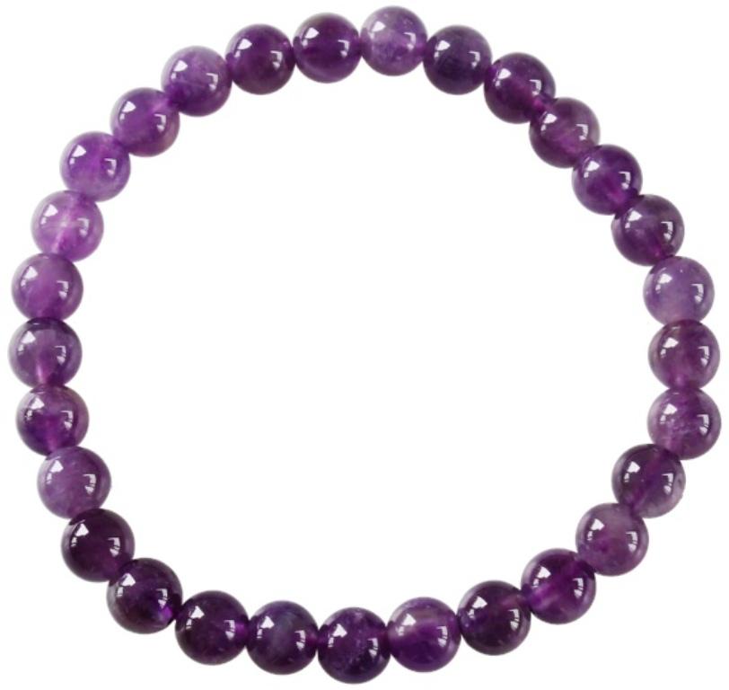 Bracelet Améthyste Perles Rondes (6 mm)