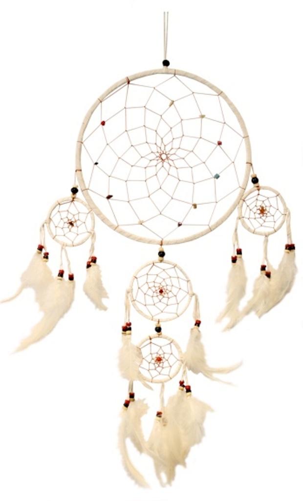 Attrape Rêves Blanc Perles et Pierres ( 22 cm )