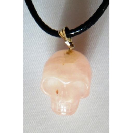 Pendentif Crâne Quartz Rose