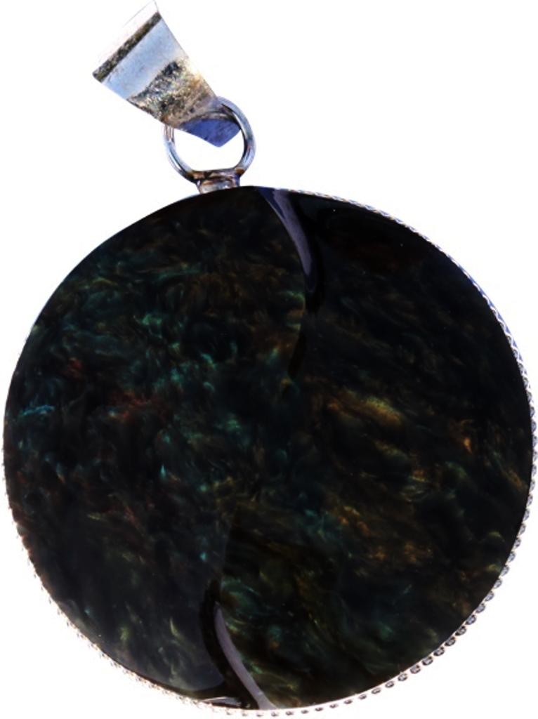 Pendentif obsidienne manta huichol - yin yang ( rond )