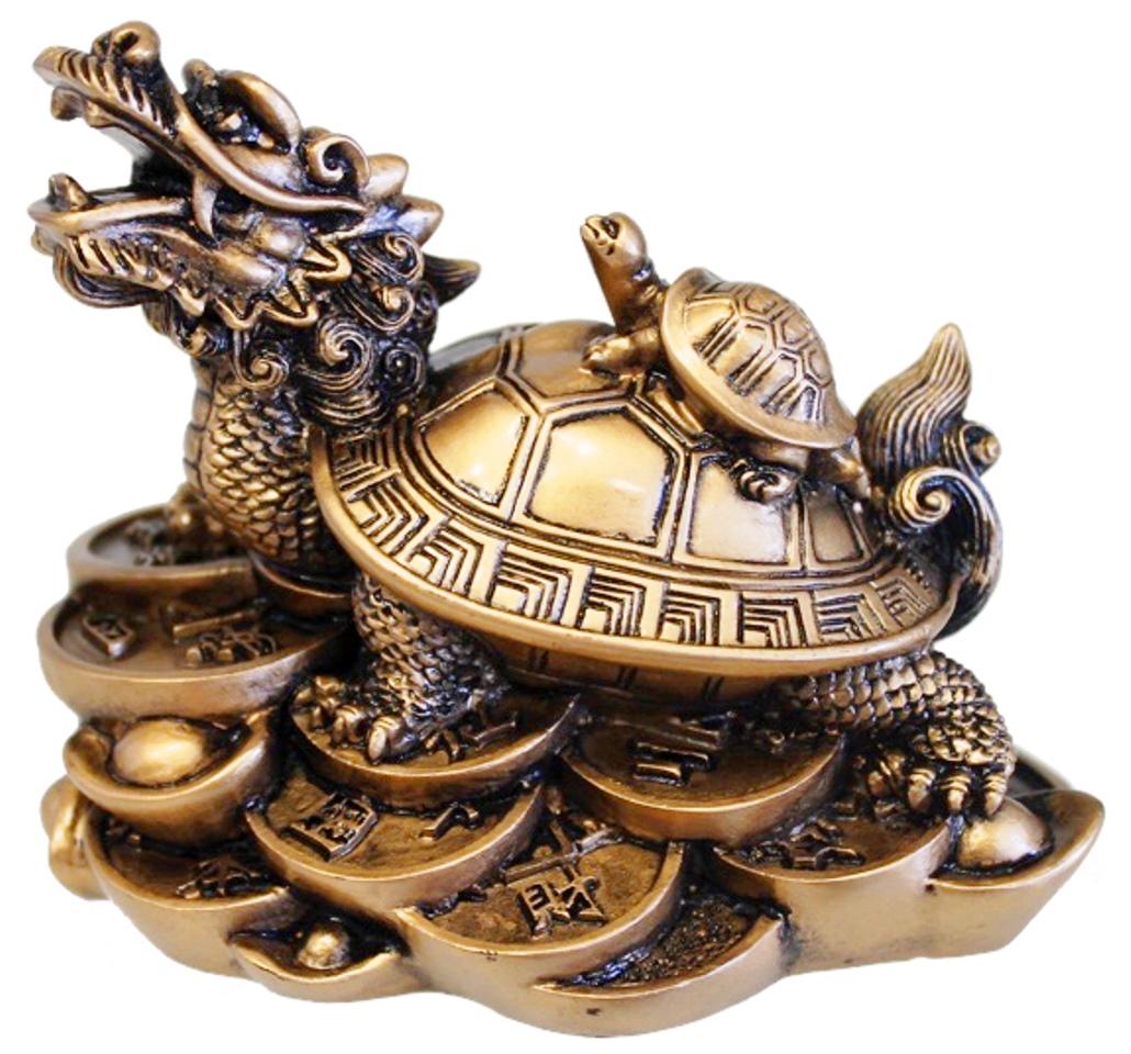 Dragon Tortue dorée Feng-Shui ( 9 cm )