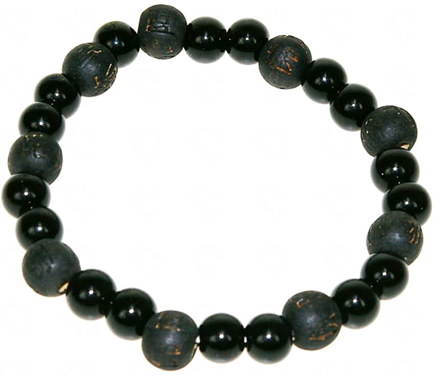 Bracelet en Onyx et Perles de Karma Noir