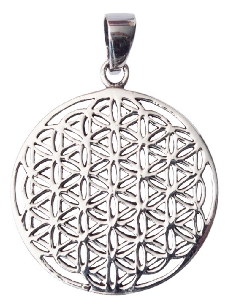 Médaille Fleur de Vie métal argenté ( 2,8 cm )