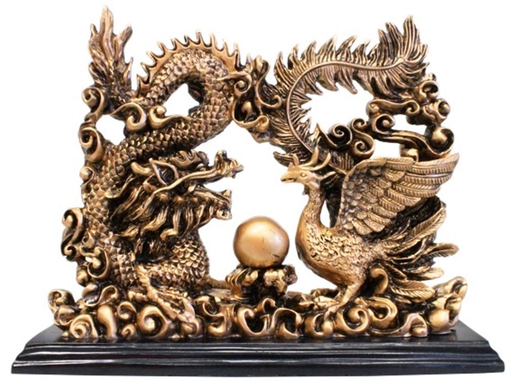 Dragon et Phoenix Feng-Shui dorée ( 23 cm )