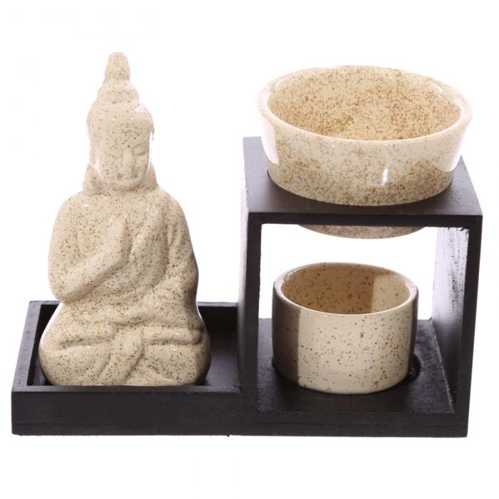 Brûleur à huile Bouddha ( Crème )