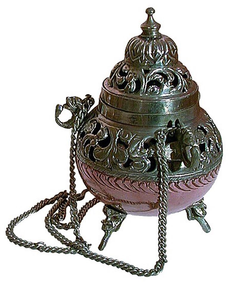 Grand encensoir en cuivre avec chaines  22850