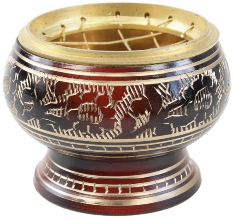 Brûle encens Bordeau - motifs dorés
