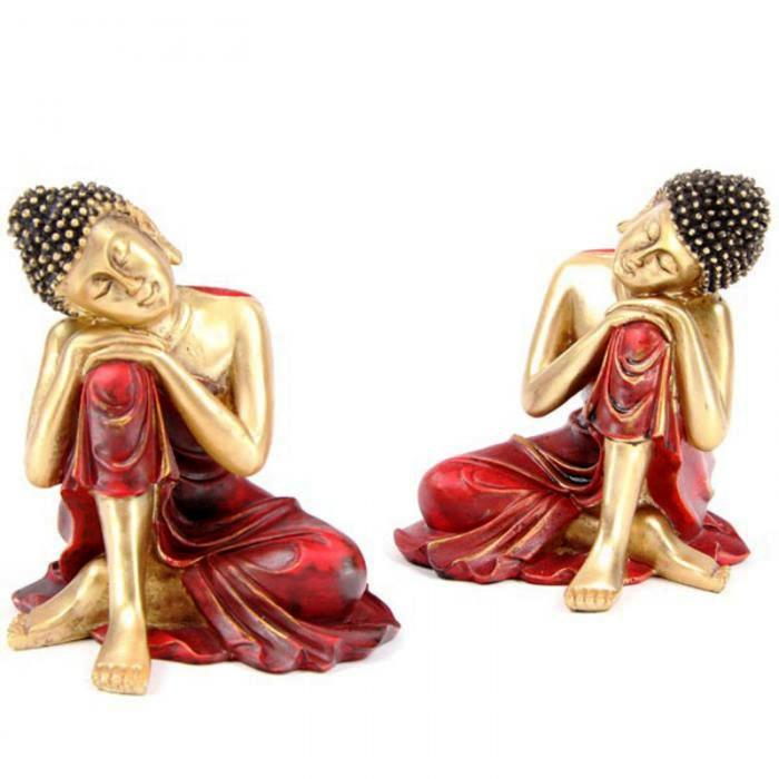 Bouddha Thaï Reposant sa Tête sur son Genou (Lot de 2)