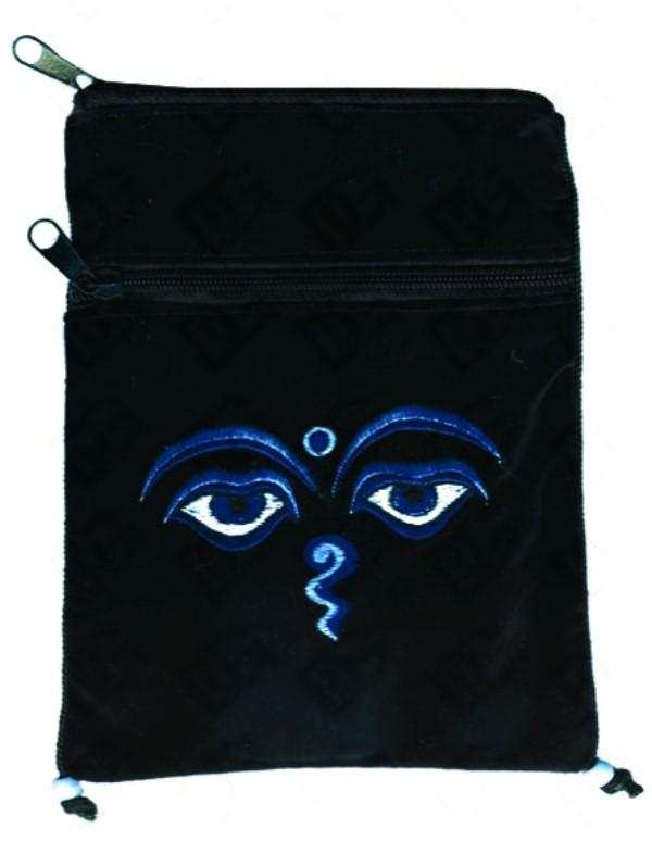 Pochette à Passeport yeux de Bouddha (noir et bleu)