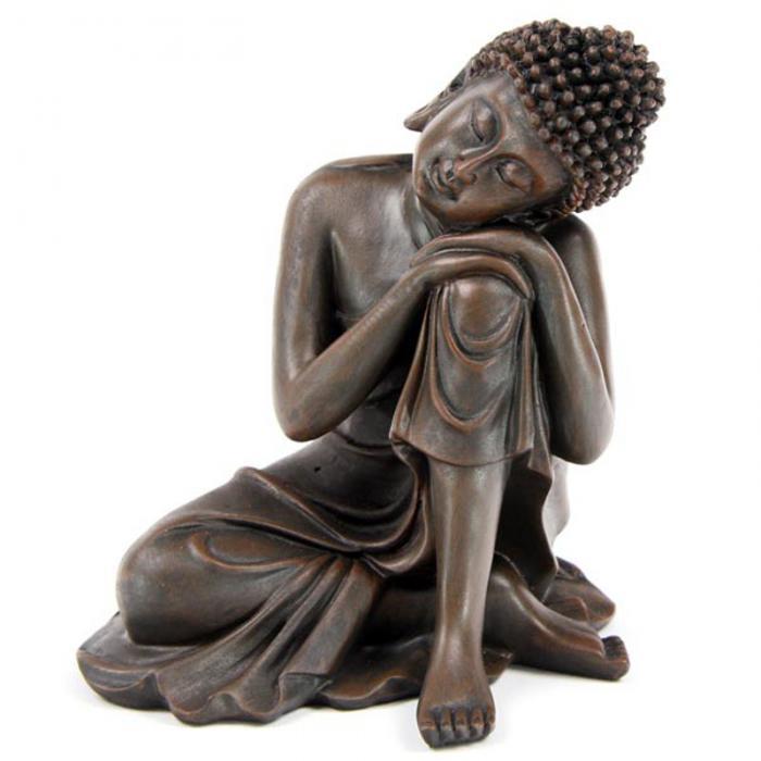 Bouddha Thaï -Effet Bois- Tête sur Genou Gauche (A)