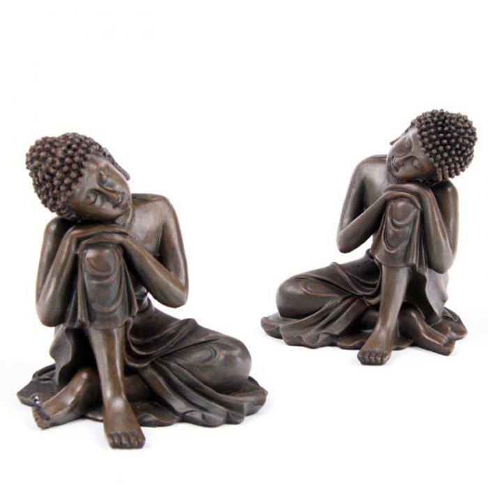 Bouddha Thaï, Tête sur Genou, Effet Bois (Lot de 2)