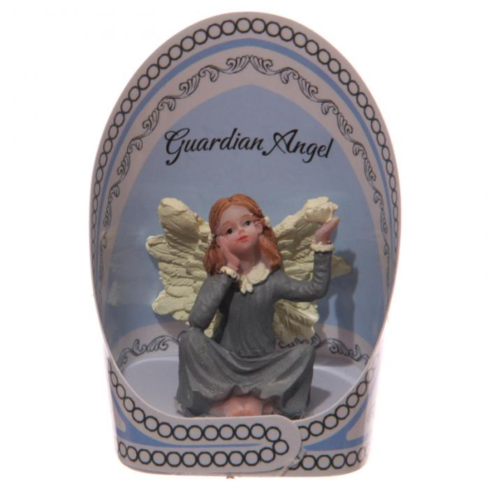 Figurine Ange Gardien - robe grise accoudé