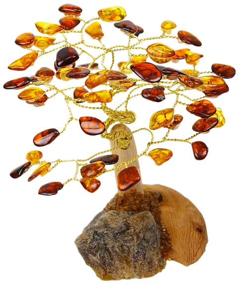 Arbre du bonheur en Ambre cognac mixé | Hauteur 11 cm