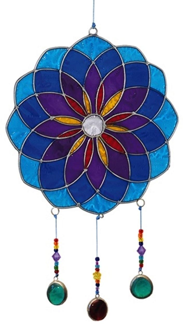 Attrape Soleil - Mandala Bleu, Violet (Dia. 14 cm)