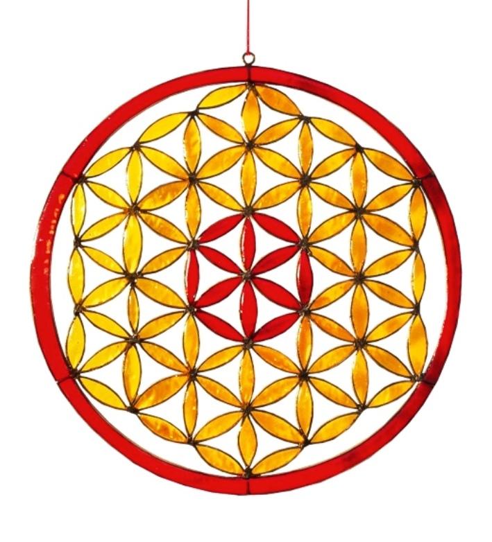 Attrape Soleil - Fleur de Vie Rouge et Jaune (Dia. 21 cm)