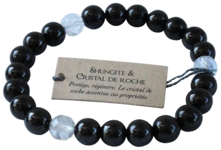 Bracelet Shungite et Cristal Perles Rondes (8 mm)