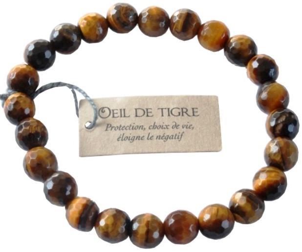 Bracelet Oeil de Tigre Perles facettées (8 mm)
