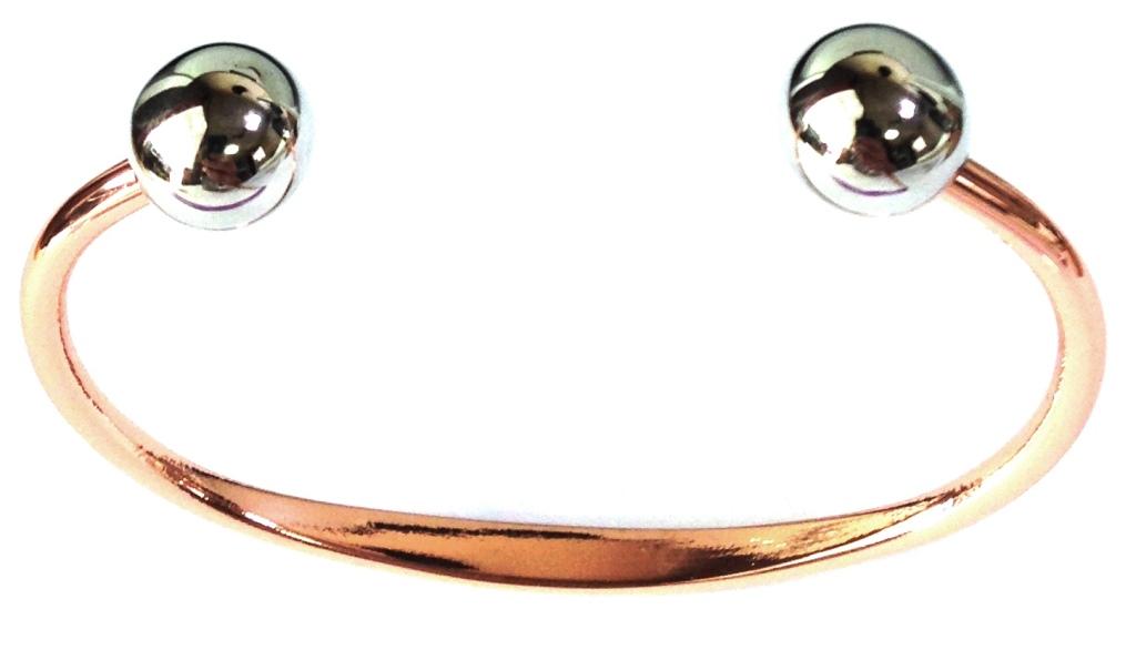 Bracelet Cuivre boules métal argenté (magnétique)