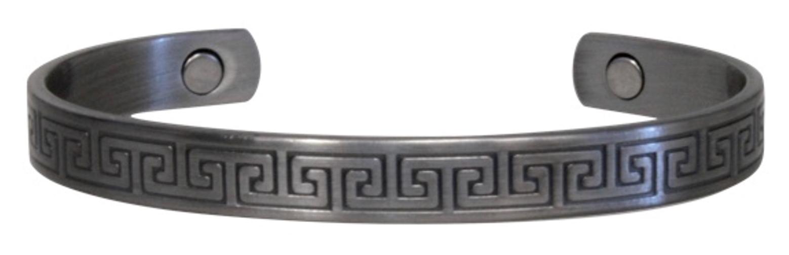 Bracelet Cuivre Métal Argenté Gravé (magnétique)