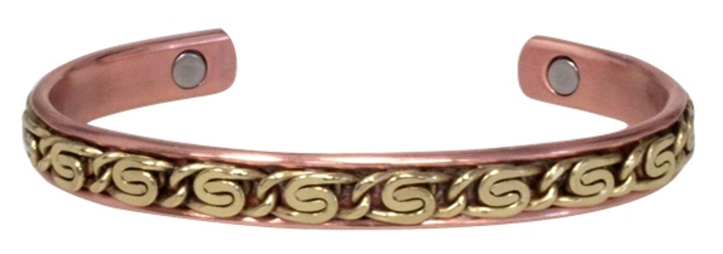 Bracelet Cuivre Plat Laiton Incrusté (magnétique)