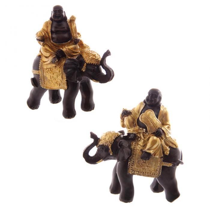Gros Bouddha Rieur Chinois Sur Éléphant (lot de deux)