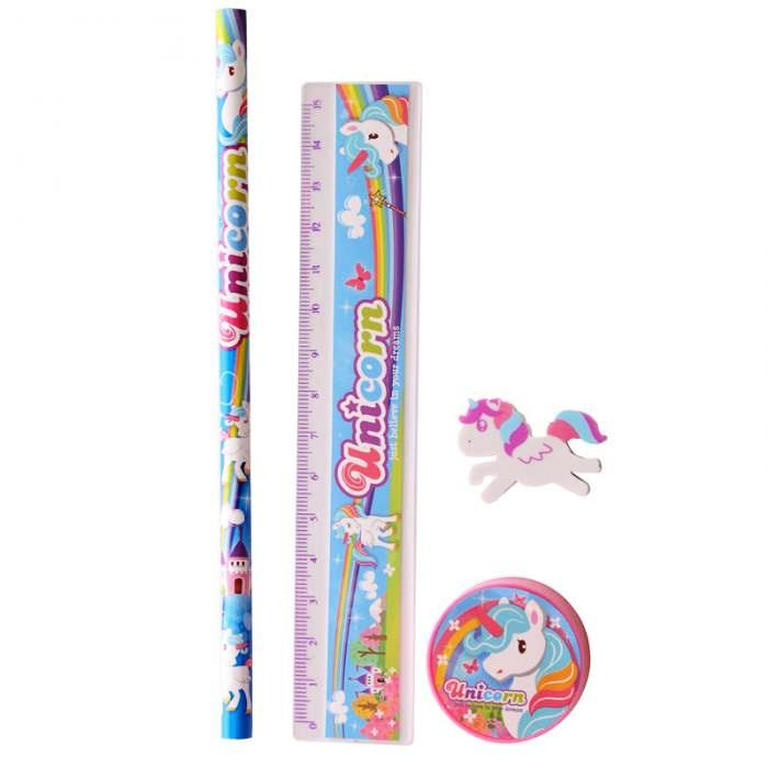 Papeterie Licorne Set de 4 Pieces