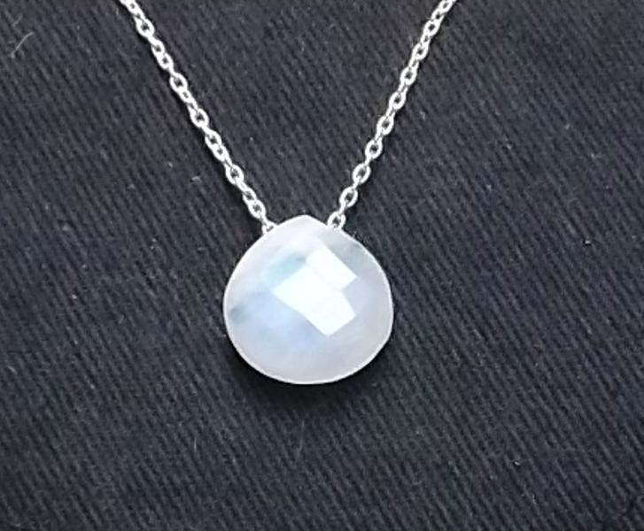 collier argent femme avec pierre