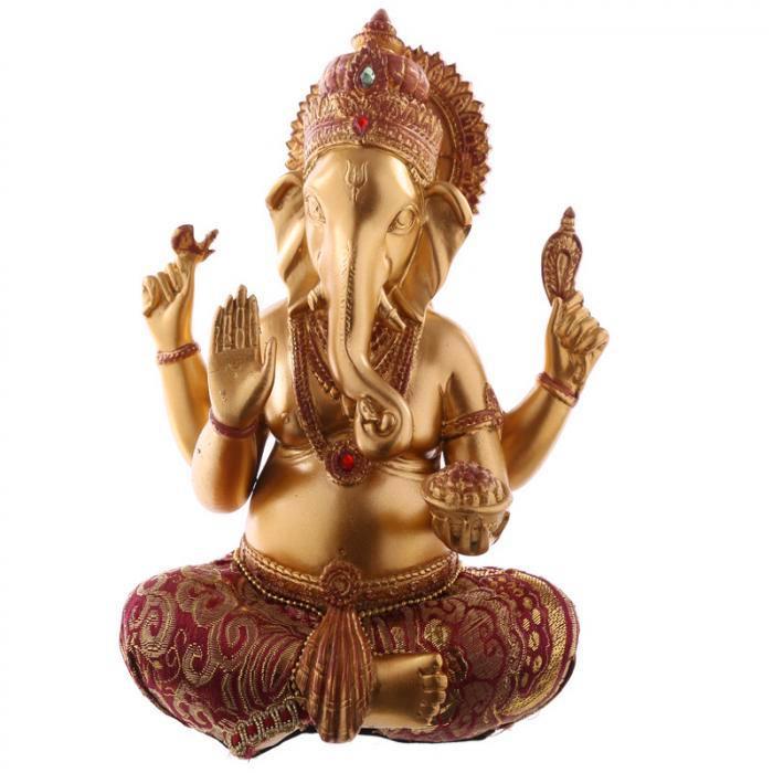 Figurine Ganesh Rouge et Dorée (19 cm)