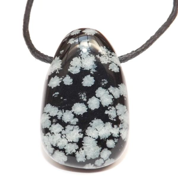 Pendentif Obsidienne Flocon Bombé